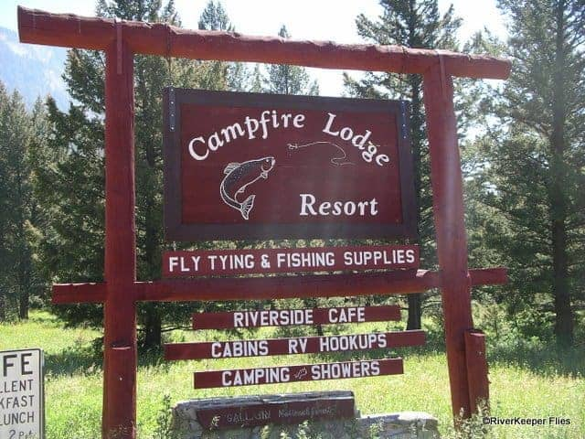 Campfire Lodge and Fly Shop Sign