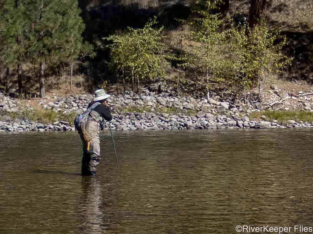 Karen Leaning of Wading Staff - Bitterroot River   www.johnkreft.com
